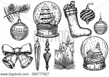 Vintage Christmas Decoration Set. Merry Christmas, Happy New Year Sketch Design Elements. Oncept Hol