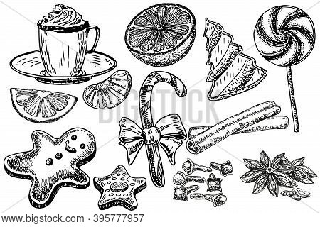 Christmas Sweets Set, Hand Drawing Sketch Illustration. Tangerines, Cookies, Sweets, . Vector Collec
