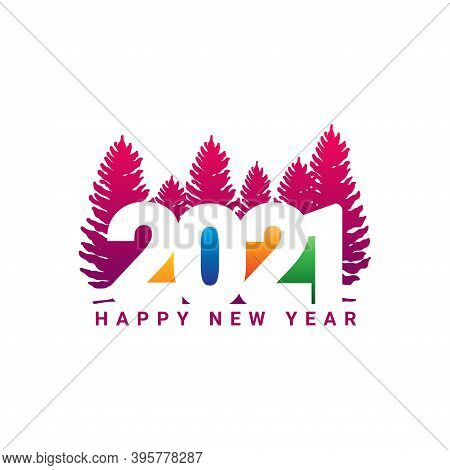 New Year 2021. Happy New Year 2021 Vector. Number 2021 Concept With A Tree. 2021 Text. Number 2021 C