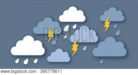 Rain Clouds And Lightening Bolt. Paper Cut Weather. Storm Time. Rain Drops And Thunder.