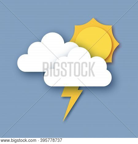 Sun With Rain Clouds And Lightening Bolt. Paper Cut Weather. Storm Time.