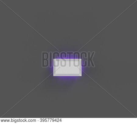 Grey Stone Alphabet With Purple Backlight - Minus (dash) Isolated On Grey Background, 3d Illustratio