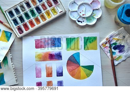 Artists Workplace. Art Supplies Brushes, Paints, Watercolors. Art Studio. Drawing Lessons. Creative