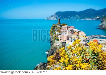 Rocky Sea Coast. Ligurian Sea, View At Vernazza Village, Cinqe Terre, Italy