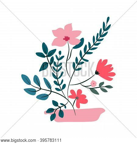Vase With Flowers On White Background. Modern And Flat Color Flower And Leaf Clipart. Spring Foliage