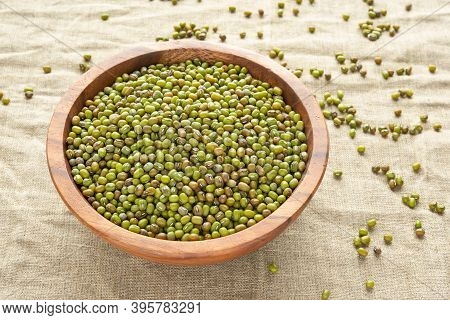 Mung Beans Or Mash Peas In Wooden Bowl