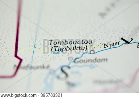 Shallow Depth Of Field Focus On Geographical Map Location Of Timbuktu Tombouctou Desert Mali Africa