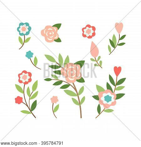 Pink, Yellow, Green Floral Elements On White Background. Modern And Flat Color Flower And Leaf Clipa