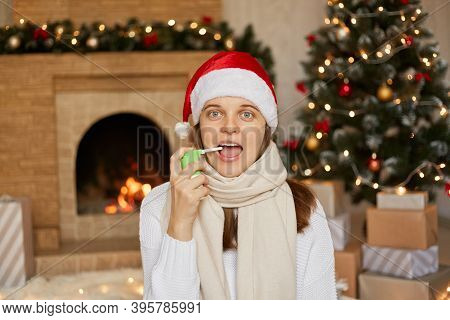 Image Of Sick European Woman With Widely Opened Mouth, Has Sore Throat, Suffers From Pain Attack, We