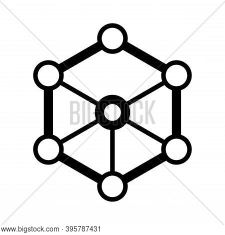 Octagon With Small Circles At The Corners.  Outer Space Icon, High Tech Icon, Internet Network Icon.