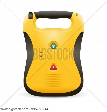 Automated External Defibrillator Aed Realistic Icon -  Isolated Vector Medical Equipment In Yellow A