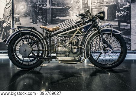 Munich/ Germany - May, 24 2019: Classic Motocycle In Bmw Museum/ Bmw Welt