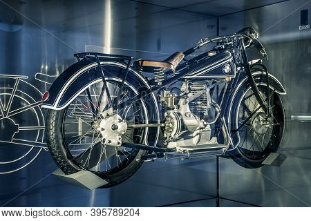 Munich/ Germany - May, 24 2019: Classic Motorcycle Bmw R32 1923  In Bmw Museum/ Bmw Welt.  The R32 E