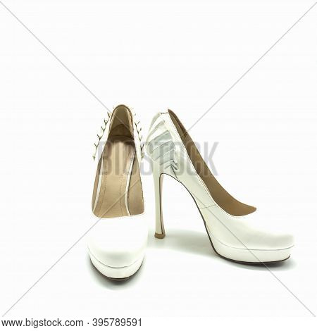 Women's White Shoes With High Heels And Platform. Made Of Genuine Leather. Decorated With Pleats At