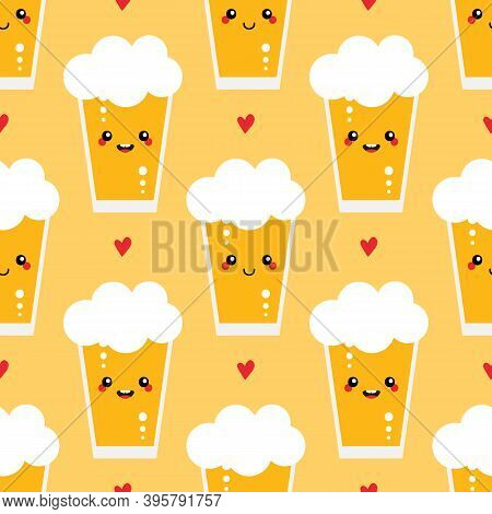 Cute Vector Seamless Pattern Background With Glasses Of Lager Beer Characters And Hearts.