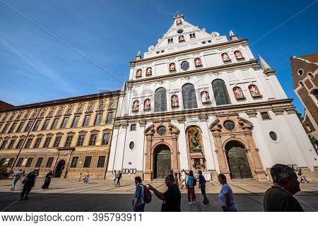 Munich, Germany - Sept 6, 2018: Michaelskirche (st. Michael Kirche). Facade Of The Church Of St. Mic