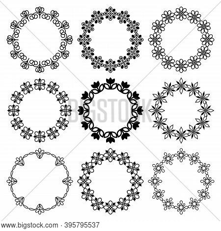 Vector Set Of Round Frames With Graphic Floral Ornament. Beautiful, Simple, Elegant Flowers. Abstrac