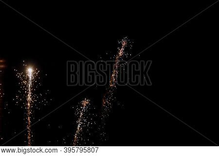Real Fireworks On Deep Black Background Sky On Fireworks Festival Show Before The Independence Day O