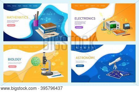 Mathematics Algebra And Geometry, Biology Studies At School Vector. Astronomy Science, Electronic Wi