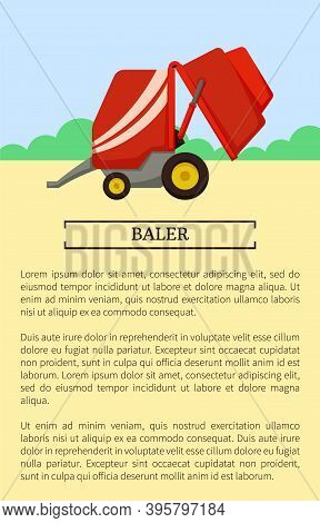 Agricultural Machinery Icon Cartoon Vector Banner. Small Compact, Mini Baler Trailer, Isolated New E