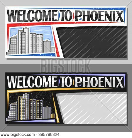 Vector Layouts For Phoenix With Copy Space, Decorative Voucher With Illustration Of Famous Phoenix C