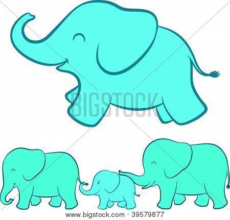 Elephant family cartoon