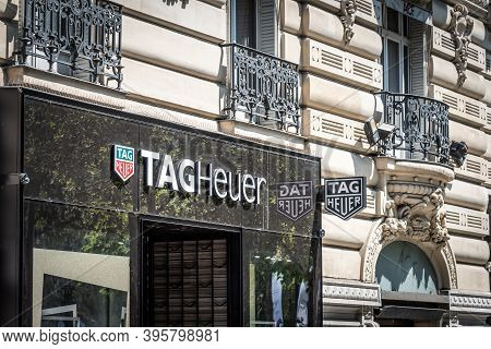 Paris, France - July 06, 2018: Tag Heuer Store Signs In World Famous Champs Elysees Boulevard