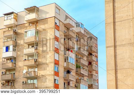 Soviet Modernism Building . Residential House With Balcony