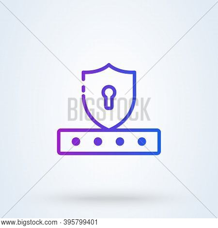 Password Field Sign Line Icon Or Logo. Password And Unlock Concept. Pin Code Entry Vector Linear Ill