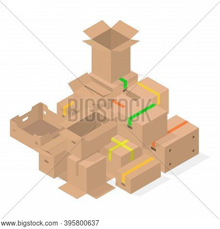Bunch Of Cardboard Boxes Isolated On White Background. Packaging Design Elements. Flat 3d Isometric