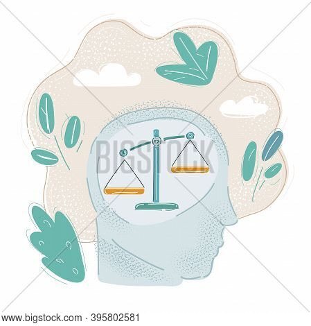 Vector Illustration Of Weighing Scale In Head