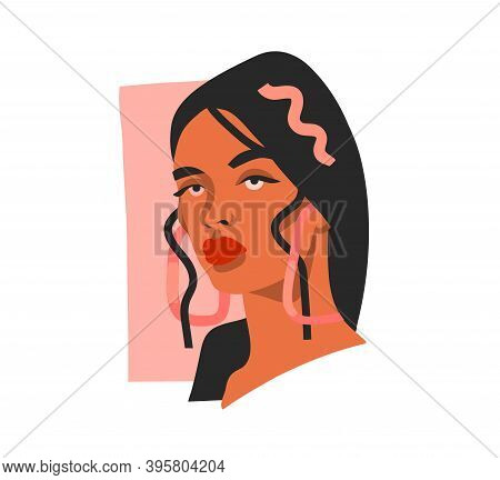 Hand Drawn Vector Abstract Stock Flat Graphic Illustration With Ethnic Tribal Beautiful Woman Portra