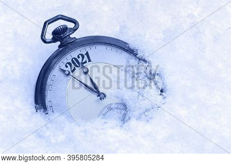 New Year 2021 Greeting Card, 2021 New Year, Pocket Watch In Snow, Happy New Year Concept