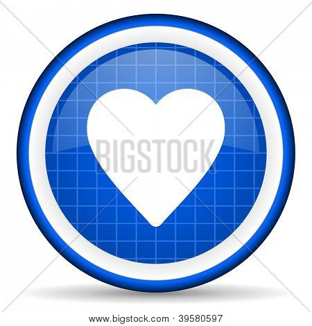 heart blue glossy icon on white background