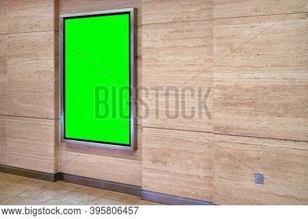 Wall With Light Display Ad Board In Steel Frame - Green Color Advertisement Mock Up