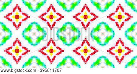 Ethnic Water Color Pattern. Tie Dye Bohemian Abstract Texture. Colorful Summer Background. Water Col