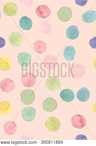 Seamless Polka Background. Fashion Children Confetti. Colorful Wrapping Print. Watercolor Child Text