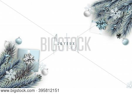 Merry Christmas Banner With Space For Text. Light Blue Flat Lay Composition With Decorative Fir Tree