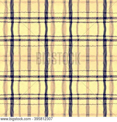 Indigo Square Plaid. Seamless Buffalo Shirt. Irish Check Pattern. Vintage Graphic Textile. Square Pl