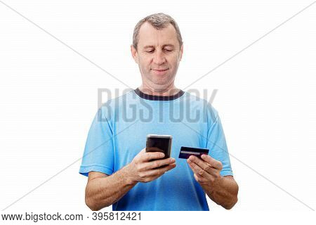 Online Shopping, E-commerce Concept. Middle Aged Man Using Phone Browse And Order Products Online. P
