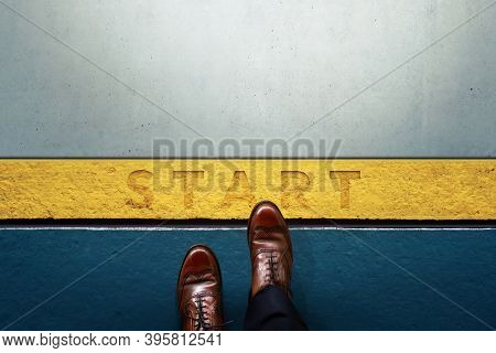 Start Concept. Top View Of Businessman Steps Into Start Line. Moving Forward. Business Challenge Or