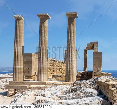 Doric Temple Of Athena Lindia, Acropolis Of Lindos. Lindos Village, Greece
