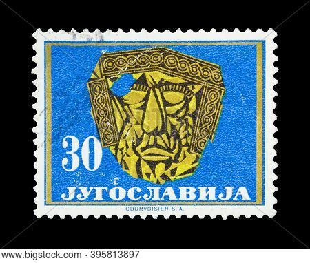 Yugoslavia - Circa 1962 : Cancelled Postage Stamp Printed By Yugoslavia, That Shows Golden Mask From