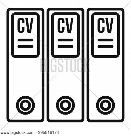 Cv Folders Icon. Outline Cv Folders Vector Icon For Web Design Isolated On White Background
