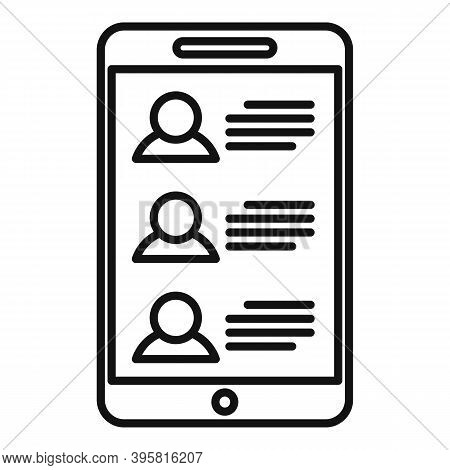 Smartphone Headhunter Icon. Outline Smartphone Headhunter Vector Icon For Web Design Isolated On Whi