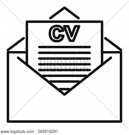 Headhunter Cv Mail Icon. Outline Headhunter Cv Mail Vector Icon For Web Design Isolated On White Bac