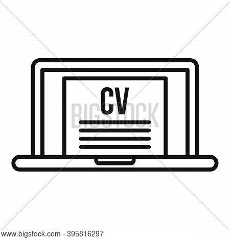 Online Laptop Cv Icon. Outline Online Laptop Cv Vector Icon For Web Design Isolated On White Backgro