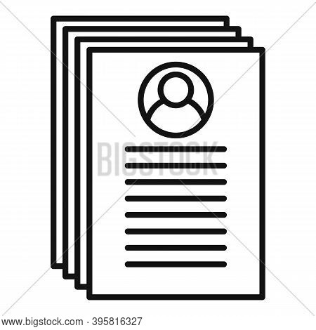 Headhunter Documents Icon. Outline Headhunter Documents Vector Icon For Web Design Isolated On White
