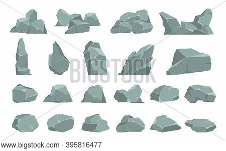 Cartoon Stones. Heavy Gray Boulder. Rough Solid Natural Material. Single Or Compositions Of Cobbles.