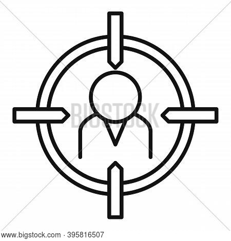Talent Worker Target Icon. Outline Talent Worker Target Vector Icon For Web Design Isolated On White